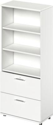 TETRIS WOOD combikast, 5 OH, b 800 mm, 2 hangmappenladen, hoogte icl. glijders, sokkel (optioneel), wit