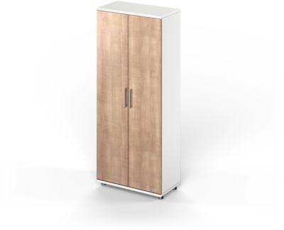 TETRIS WOOD garderobekast, 5 OH, b 800 mm, hoogte incl. glijders, sokkel (optioneel), wit/kersen Romana-decor