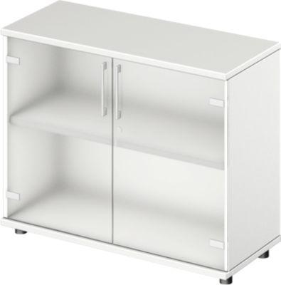 TETRIS WOOD glasdeurenkast, 2 OH, b 1000 mm, hoogte icl. glijders, sokkel (optioneel), wit