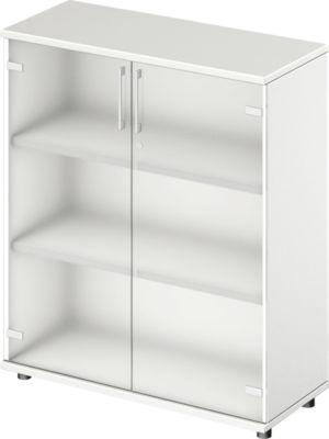 TETRIS WOOD glasdeurenkast, 3 OH, b 1000 mm, hoogte icl. glijders, sokkel (optioneel), wit