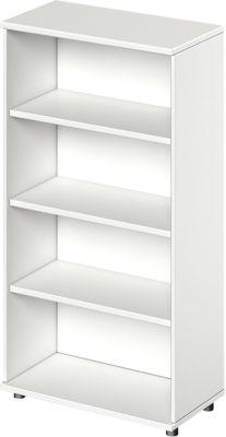 TETRIS WOOD open kast, 4 OH, b 800, hoogte incl. glijders, sokkel (optioneel), wit