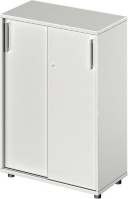 TETRIS WOOD schuifdeurkast, 3 OH, b 800 mm, hoogte icl. glijders, sokkel (optioneel), lichtgrijs