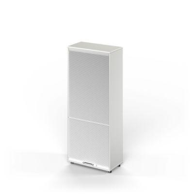 TETRIS WOOD vertikale roldeurkast, 5 OH, b 800 mm, hoogte icl. glijders, sokkel (optioneel), lichtgrijs