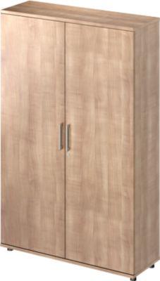 TETRIS WOOD vleugeldeurkast, 5 OH, b 1200 mm, hoogte icl. glijders, sokkel (optioneel), kersen Romana-decor