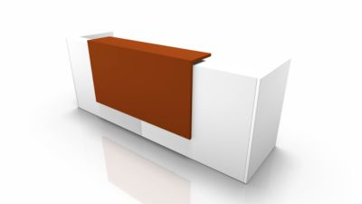 Theke Spezia, gerade, B 2860 x T 880 x H 1130 mm, weiß/orange