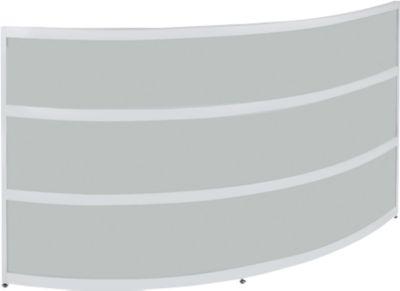Theke Tool, rund, B 1940 x T 850 x H 1100 mm, anthrazit/MDF silber