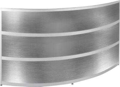 Theke Tool, rund, B 1940 x T 850 x H 1100 mm, Buche-Dekor/Edelstahlfinish