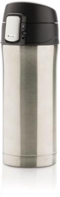 Thermobecher Easy Lock, Edelstahl, doppelwandig, auslaufsicher, 300 ml, Lasergravur o. Tampondruck 25 x 50 mm, silber