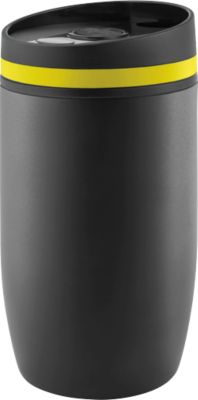 Thermobecher Metmaxx® CremaOfficinaNero, Auslaufschutz, 300 ml, Ring gelb, Tampondruck o. Lasergravur 50 x 40 mm