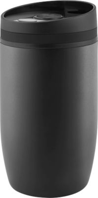 Thermobecher Metmaxx® CremaOfficinaNero, Auslaufschutz, 300 ml, Ring schwarz, Tampondruck o. Lasergravur 50 x 40 mm