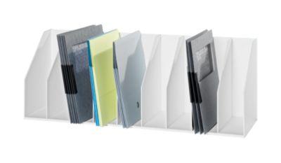 Tijdschriftenhouder, wit, met vaste indeling, 9 vakken voor dossiers