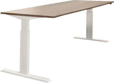 Tisch, einstufig elektrisch höhenverstellbar, B 1800 mm, Lärche grau/weiß