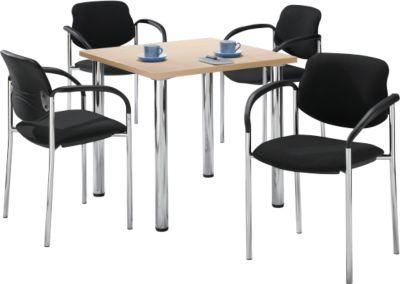 Tisch m. 4 Stühlen, Ahorn-Dekor, 800x800 mm