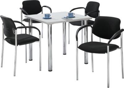 Tisch m. 4 Stühlen, lichtgrau, 800x800 mm