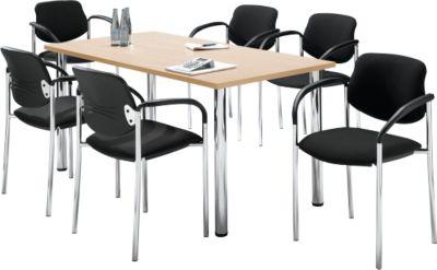 Tisch m. 6 Stühlen, Ahorn-Dekor, 1600x800 mm