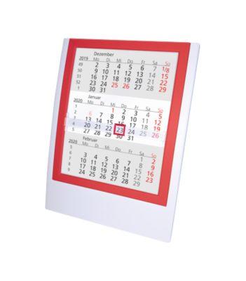 Tischkalender, deutsches Kalendarium, weiß/rot