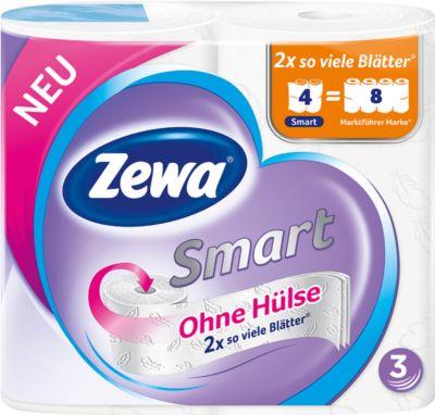 Toilettenpapier Zewa Smart, weiß, 3-lagig, 300 Blatt pro Rolle, 4 Rollen