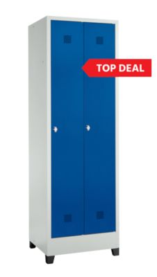 Top Deal SSI Schäfer ECO locker, 2 vakken, met pootjes, B 600 x D 500 x H 1860 mm, staal, draaigrendelslot
