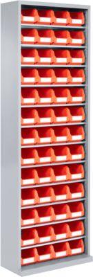TOP FIX- kast, 12 legborden, 52 bakken, zonder deuren, zilvergrijs
