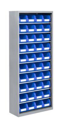 TOP FIX-Regalschrank, 1575 mm hoch, 9 Böden, 40 Kästen, ohne Türen, hellsilber