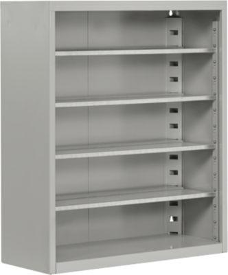TOP FIX-Regalschrank, 780 mm hoch, 4 Böden, ohne Kästen, ohne Türen, hellsilber