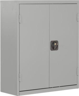 TOP FIX-Regalschrank, 780 mm hoch, 6 Böden, 42 Kästen, mit Türen, hellsilber