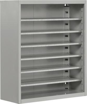 TOP FIX-Regalschrank, 780 mm hoch, 6 Böden, ohne Kästen, ohne Türen, hellsilber