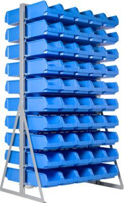 TOP-Ständerregal für zweiseitige Bestückung, mit 100 Kästen