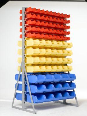 TOP-Ständerregal für zweiseitige Bestückung, mit 186 Kästen