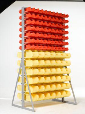 TOP-Ständerregal für zweiseitige Bestückung, mit 224 Kästen, 14/12 Reihen