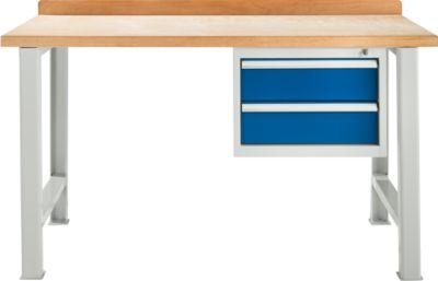 TOP-Werkbank, mit 2 Schüben, Grundeinheit, lichtgrau, 1500 mm breit