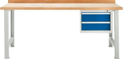 TOP-Werkbank, mit 2 Schüben, Grundeinheit, lichtgrau, 2000 mm breit
