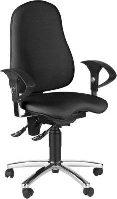 Topstar Bürostuhl SENSUM, Permanentkontakt, mit Armlehnen, Lendenwirbelstütze, 3D-Orthositz, schwarz