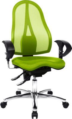 Topstar Bürostuhl SITNESS 15, Permanentkontakt, mit Armlehnen, Netzrücken, Fitness-Orthositz, grün