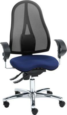 Topstar Bürostuhl SITNESS 15, Permanentkontakt, mit Armlehnen, Netzrücken, Fitness-Orthositz, schwarz/blau