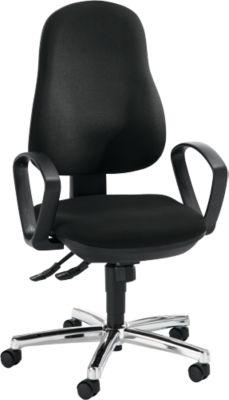 Topstar Bürostuhl SYNCRO STEEL, mit Armlehnen, Synchronmechanik, Bandscheibensitz, schwarz/chromsilber