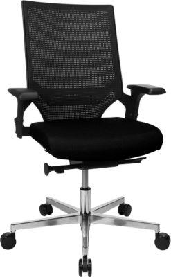 Topstar Bürostuhl T300, Synchronmechanik, mit Armlehnen, Netzrücken Lendenwirbelstütze, Muldensitz, schwarz/schwarz