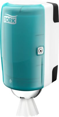 TORK dispenser mini, turkoois/wit