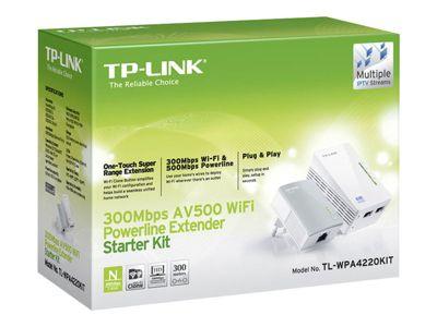TP-Link TL-WPA4220KIT AV500 2-Port Wifi Powerline Adapter Starter Kit - Bridge - 802.11b/g/n - an Wandsteckdose anschließbar
