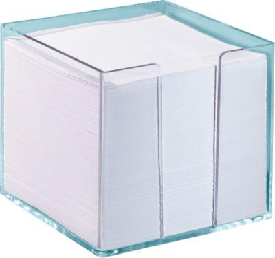 Transparante memoblok, 95 x 95 x 95 mm, geleverd met wit papier