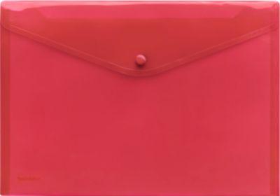 Transparante zichtenveloppen met drukknoopsluiting,  A4-formaat liggend, rood, 10 stuks