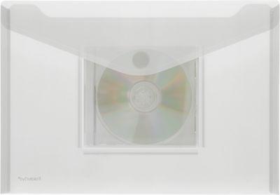 Transparante zichtenveloppen met klittenbandsluiting, A4-formaat liggend, met CD-vak, kleurloos, 10 stuks
