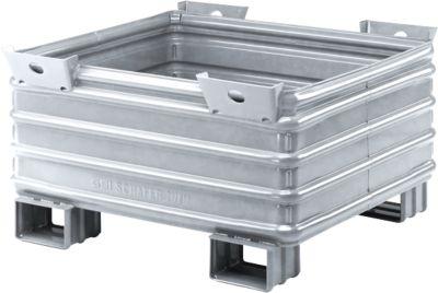 Transport-und Stapelbehälter Serie SG, m. Gabeltaschen, L 1200 x B 1000 x H 650 mm, feuerverzinkt