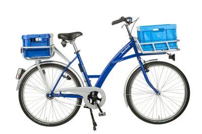 Transportfiets, 3 versnellingen, stalen frame, met drager aan voorste wiel, verlichting, blauw RAL 5002
