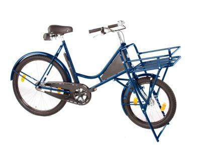 Transportfiets, stalen frame, met drager aan voorste wiel, staander voorste wiel, blauw