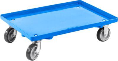 Transportrol, gesloten, L 415 x B 615 x H 175 mm, max. belasting 300 kg, 4 zwenkwielen, blauw