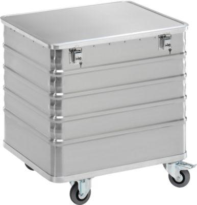 Transportwagen aus Leichtmetall, mit Deckel und Zylinderschloss, 223 l