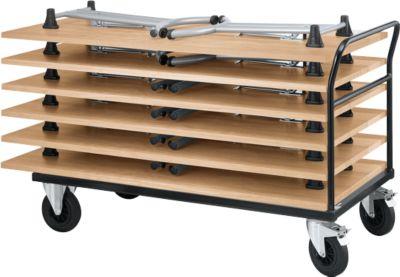 Transportwagen met duwbeugel met 6 inklapbare tafels, beuken
