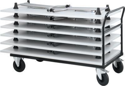 Transportwagen met duwbeugel met 6 inklapbare tafels, lichtgrijs