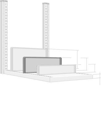 Trennwand, freistehend, für Regaltiefe 400 mm, H 175 mm